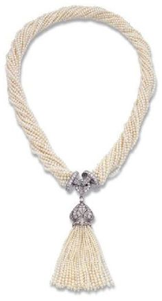 AN ART DECO SEED PEARL AND DIAMOND SAUTOIR, MOUNTED BY CARTIER. The 18 rows of seed pearls to the diamond-set clasp and detachable diamond and seed pearl tassel, circa 1920. Clasp signed MTG Cartier, numbered.