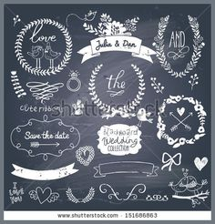 Wedding romantic collection with labels, ribbons, hearts, flowers, arrows, wreaths, laurel and birds Graphic vintage set on chalkboard background  Save the Date invitation in vector