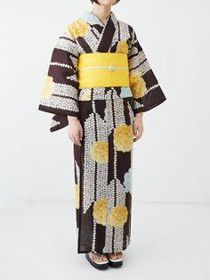 茶 黄色 #浴衣