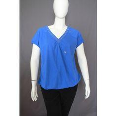 Lane Bryant blue V-neck top, size 16