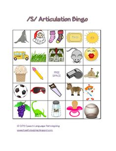 """S"" Articulation Bingo from Speech Language Pathologizing on TeachersNotebook.com - (4 pages) - Bingo for articulation of ""S"" in all positions"