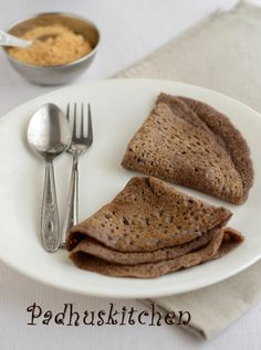 Ragi is known as finger millet in English and Kezhvaragu in Tamil. It is rich in calcium, protein, iron and is also a good source of fiber. Indian Food Recipes, Vegetarian Recipes, Ethnic Recipes, Ragi Dosa, Millet Recipes, Dosa Recipe, Coconut Chutney, Indian Breakfast, South Indian Food