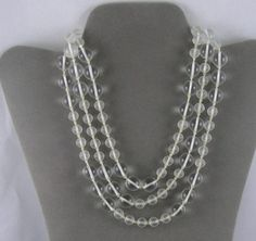 Vintage Clear and Frosted Crystal Bead Rope by ZeldasCottage