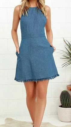 Pick the perfect spot in the park to show off the Sunny Spot Blue Chambray Halter Dress! A tying halter neckline tops off this adorable chambray dress with a frayed hem. Cute Dresses, Casual Dresses, Short Dresses, Summer Dresses, Denim Dresses, Halter Dress Casual, Denim Skirt, Chambray Dress, Jeans Dress