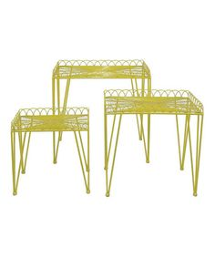Take a look at this Yellow Wire Nesting Table Set by Three Hands Corporation on #zulily today! $159 !!