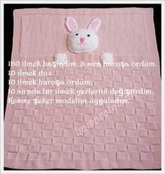 Merhaba arkadaşlar,bu tavşanlı cici battaniyemizi çok soran arkadaşım oluyor. Bende ayrı ayrı tarif yazmak yerine bloguma ekleyeyim dedi...