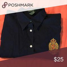 Blouse Lauren classic button down  no iron dress shirt with crest. Navy Lauren Ralph Lauren Tops Button Down Shirts