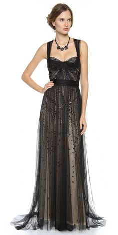 Monique Lhuillier Black Bustier Top Gown with Tulle Straps