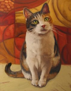 Sugar cat portrait painting commission custom art, painting by artist Diane Hoeptner