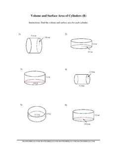 volume and surface area worksheets   The Volume and Surface Area of Cylinders (BB) Measurement Worksheet