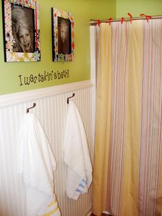 kids bathroom - love the beadboard, with the pictures above. I want to do something similar.