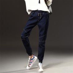 11a18b26694 Winter Autumn New Fashion Simple Jeans Woman Elastic Waist Dark Blue Plus  Size Jeans Female Pockets Leisure Casual Harem Pants