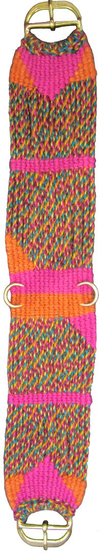 """Hot damn! This is a colorful one, """"Confetti"""" for the long cords, Hot Pink & Hot Orange for the design. Another sample of mine."""