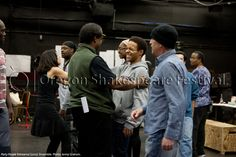 Oregon Shakespeare Festival. PARTY PEOPLE Rehearsal (2012): Ensemble. Photo: Jenny Graham.