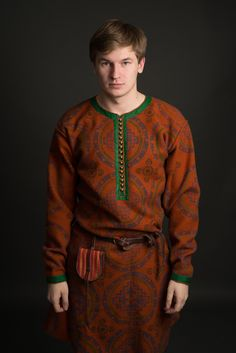 """Viking man clothing: replica of Gnezdovo. Weaving, sewing and block printing by hands. Crafter is Kovaleva Alina (craftroom is """"Скупая Хель"""")"""