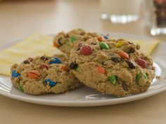 Love these cookies! Just two pouches of Betty Crocker cookie mix, some butter, oats and eggs ... plus M!!! Easy Monster Cookies - a sure crowd pleaser :-)