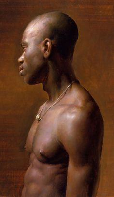 """""""Vincent"""" - Jacob Collins, 1998, oil on canvas {figurative african-american male shirtless torso bald black man profile portrait cropped painting} Jewel !!"""