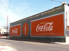 Pittsburg Texas Old Historic Small Town in 2011   Painted Mural on the wall of Coca Cola  Roads Building Signs Architecture