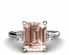 Emerald Morganite Engagement Ring 3 Stone Morganite Ring Diamond in 14K or Palladium Custom Bridal Jewelry