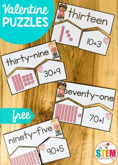 Valentine's Number Puzzles These adorable Valentine's themed number puzzles are perfect to pop in your February math tubs! They are awesome for math centers or focused intervention for those children needing a bit of extra help with numbers to 100 too. Fun Math Games, Math Activities, Valentine Activities, Valentine Ideas, Holiday Activities, Educational Activities, Math Stations, Math Centers, 1st Grade Centers