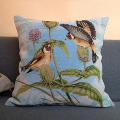 Flower bird throw pillow decorative home couch cushions 18 inch