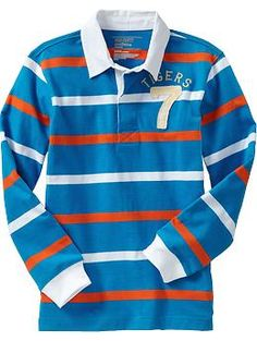 Boys Striped Graphic Rugbys.  This would be a great shirt for my little man. {ON}