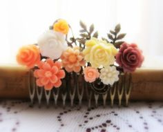 Peach Wedding Hair Comb Pastel Pink Coral Plum Mauve Bridal Head Piece Flower Comb Bridesmaids Gift Apricot Blush Floral Comb Shabby Chic