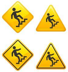 Ladder Steps Warning and Caution Street Signs vector art illustration