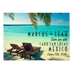 Mexico Destination Wedding Save the Date Card Fully customizable tropical beach destination wedding save the date card. Text on both sides can be changed to suit your needs.