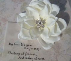 Light ivory bridal hair flower clip with STAR FIRE by misunbridal, $29.00