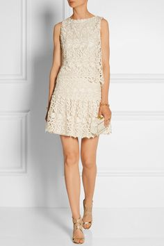 Cream guipure lace Hook and zip fastening at back 50% polyester, 50% rayon; lining: 98% polyester, 2% elastane Dry clean