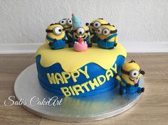 Minion-Torte #sabscakeart Facebook; Sab's CakeArt  #minions#cake#sweet#yellow#minion#party#birthday# - sabscakeart