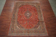 Antique 9X12 Kashan Persian Hand-Knotted (9.5 x 12.5) Area Rug 1940's Red Wool #Persian