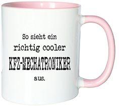 Mister Merchandise Kaffeetasse Becher So sieht ein richtig Cooler KFZ-Mechatroniker aus. , Farbe: Weiß-Rosa - http://geschirrkaufen.online/mister-merchandise/weiss-rosa-mister-merchandise-kaffetasse-becher-2