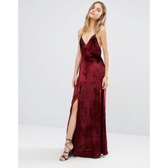 The Jetset Diaries Atlas Maxi Dress (£300) ❤ liked on Polyvore featuring dresses, red, v-neck dresses, red velvet dress, tall maxi dresses, red dress and v neck maxi dress