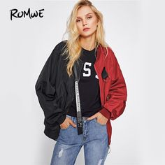 Hot Deals $19.99, Buy ROMWE Patchwork Casual Bomber Jacket Color Block Women Two Tone Patch Back Autumn Jackets 2017 New Letter Ribbon Zip Up Jacket