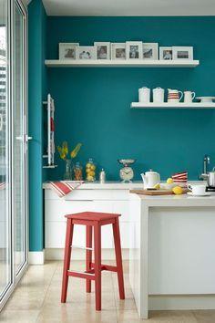 white cabinets seafoam walls orange accent - Google Search