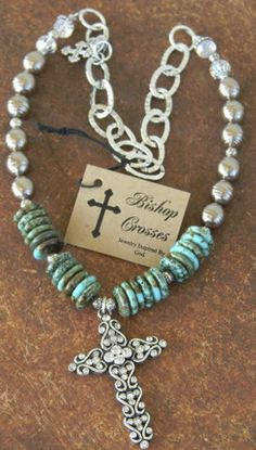 Fischer & Aniston — Bishop Crosses Turquoise and Rhinestone Necklace