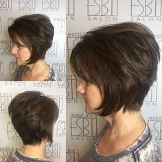 50 Age Defying Hairstyles for Women over 60 - Hair Adviser - Short Stacked Chin-Length Shaggy Cut - Short Shaggy Haircuts, Shaggy Short Hair, Haircuts For Fine Hair, Modern Haircuts, Modern Hairstyles, Bob Hairstyles, Chin Length Hairstyles, Haircuts For Over 60, Pixie Haircuts