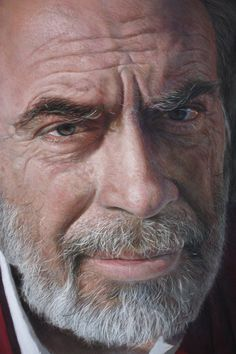 Artist: Rubén Belloso, pastel realist {contemporary hyperrealism figurative male head man face portrait drawing}