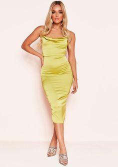 535a7d1aa459c8 Missyempire - Vennie Lime Green Cowl Lace Up Back Midi Dress Green Satin  Dress, Satin