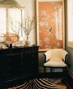 © Deborah Jaffe http:www.deborahjaffe.com photo by Deborah Jaffe Photography bedroom with white chair, Asian print, pink, dresser