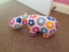 African flower crochet hippo using Heidi bears pattern