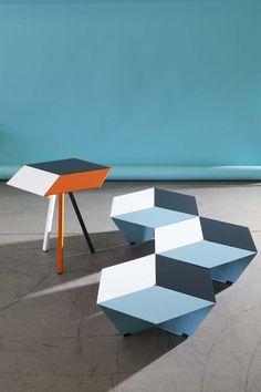 Tables basses & table d'appoint KUBAN, design Luc Jozancy, Matiere Grise. #blanc #anthracite #celadon #mobilier #metal #acier #indoor #design #low table #3Deffect #matieregrise #creditphoto #pierrickverny