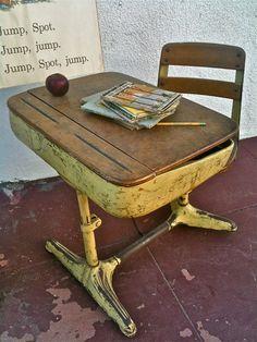 Vintage Norman Bel Geddes Streamline One Piece School Desk With Swivel Chair 1940s
