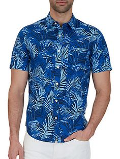 Nautica Big And Tall Cottonand Linen- Blend Printed Casual Shirt