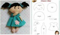 Boneca de feltro com molde para download #feltro #artesanato #moldes #manualidades #fieltro #crafts #handmade #diy #eimeninas Felt Doll Patterns, Doll Clothes Patterns, Diy Crafts Hacks, Crafts To Make, Felt Books, Lol Dolls, Sewing Toys, Doll Crafts, Fabric Dolls