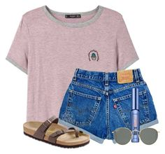 """Bored!!!!!!!"" by victoriaann34 ❤ liked on Polyvore featuring MANGO, Birkenstock, Benefit and Ray-Ban"