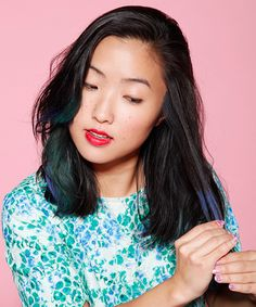 A Foolproof Way To Dye Dark Hair Cool Colors #refinery29  http://www.refinery29.com/eyeshadow-hair-dye  I'd rather NOT spend my money on hair chalk, because 1) it fades away, 2) money! This awesome method uses eyeshadow palettes. Thank goodness I have several that I wouldn't dare use because they're a little off for me (blue, electric blue..)... and I finally found the use for them. yayyers!