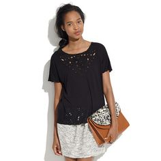 Madewell Lace Cutout Tee, Essex Bag, See by Chloé Ruched Mini Skirt